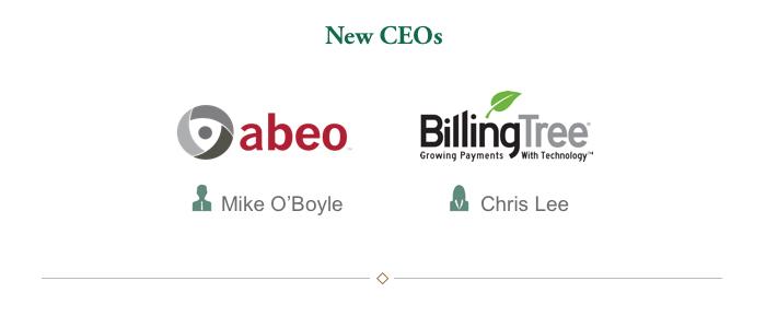 New CEOs: Abeo, Inc. - Mike O'Boyle, Billing Tree - Chris Lee
