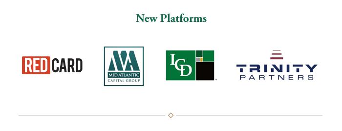 New Platforms: RedCard, Mid Atlantic Capital Group, ICD, Trinity Partners
