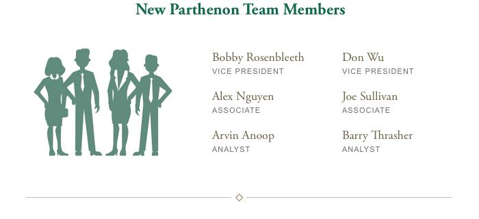 New Parthenon Team Members: Bobby Rosenbleeth - Vice President, Don Wu - Vice President, Alex Nguyen - Associate, Joe Sullivan - Associate, Arvin Anoop - Analyst, Barry Thrasher - Analyst