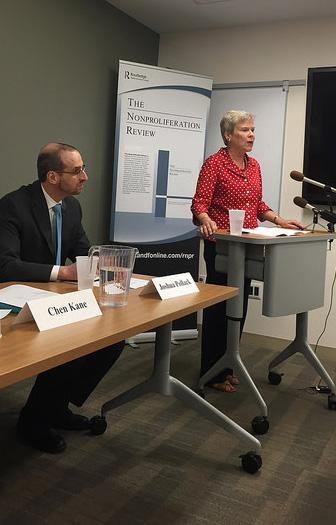 Rose Gottemoeller and Joshua Pollack at the NPR launch event on WMD elimination, September 12, 2016.