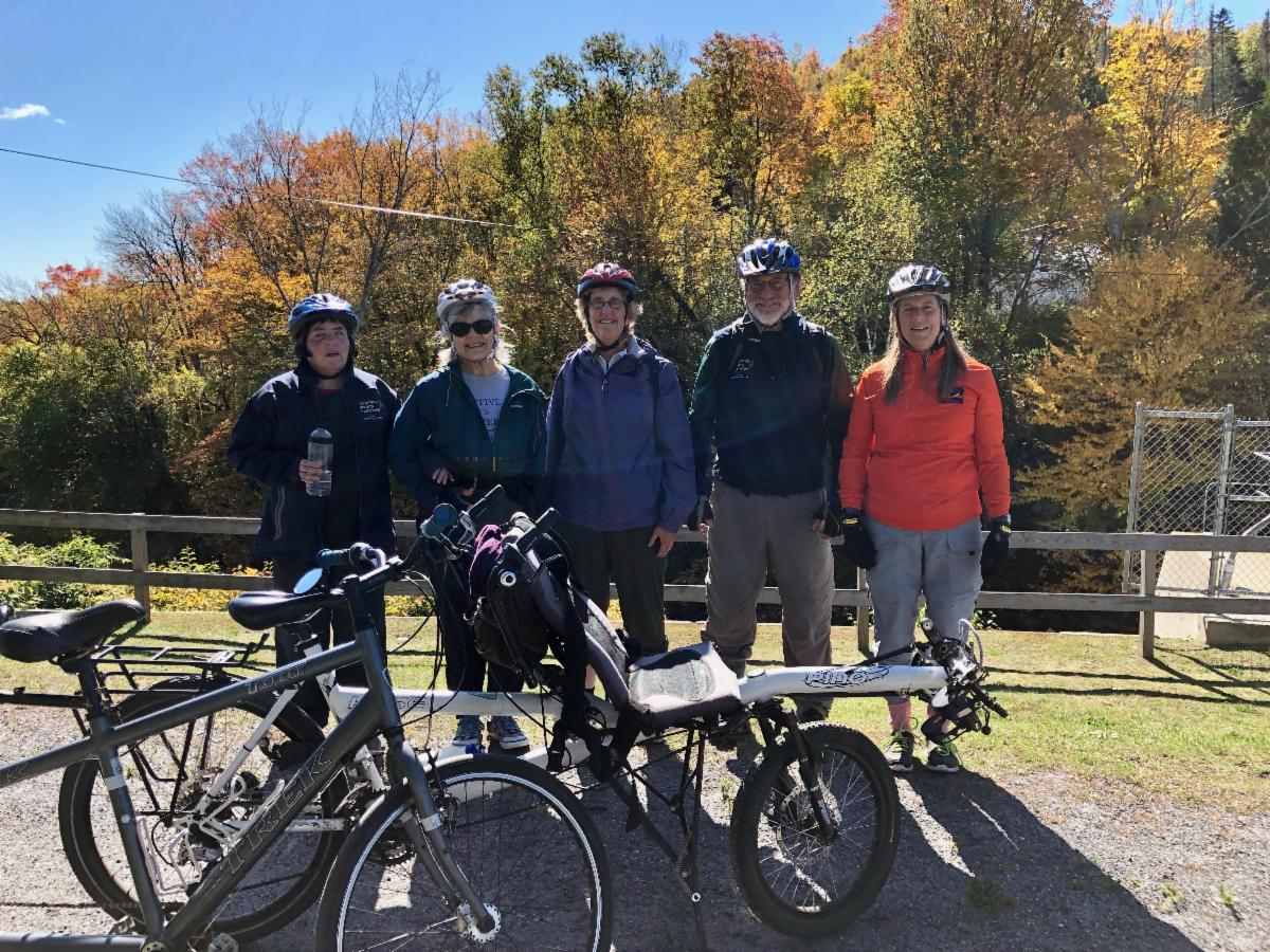 The group at the dam in Danville while biking the Lamoille Valley Rail Trail.