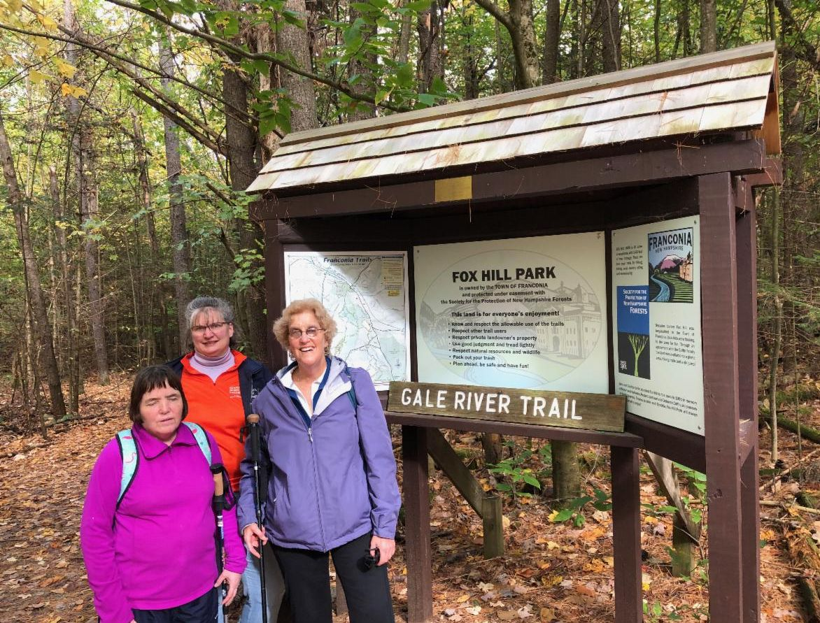 Marie, Michelle and Cindy at the Fox Hill Kiosk before a 2.2 mile hike.