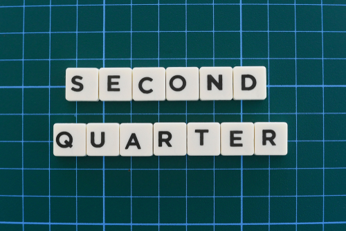 Second quarter word made of square letter word on green square mat background.