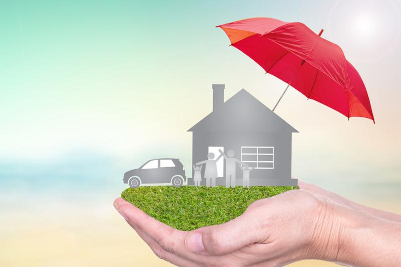 Insurance concept of car insurance life insurance home insurance to protection by umbrella.