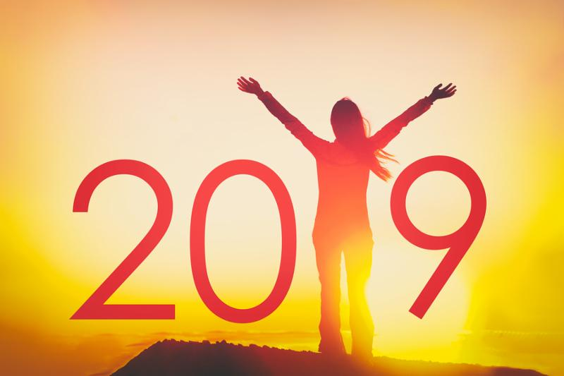 2019 text background for Happy New Year Celebration concept. Woman joyful with open arms in freedom at sunset_ silhouette of person winning with resolution goals.