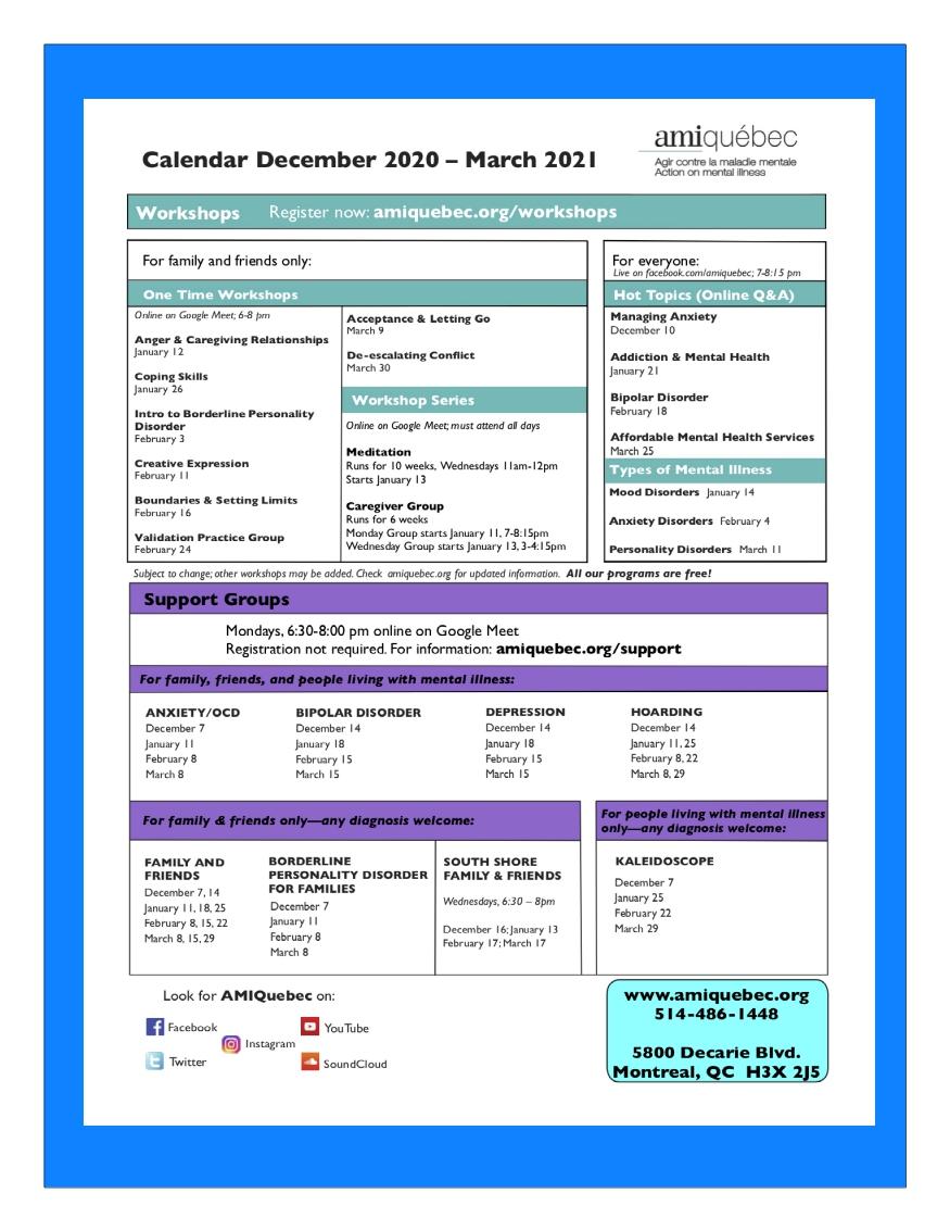 Calendar Winter 2021