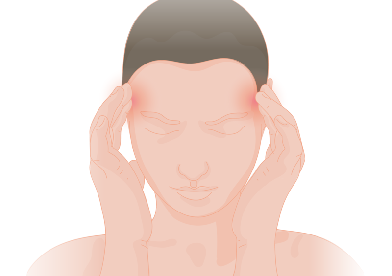 Male figure with headache pain