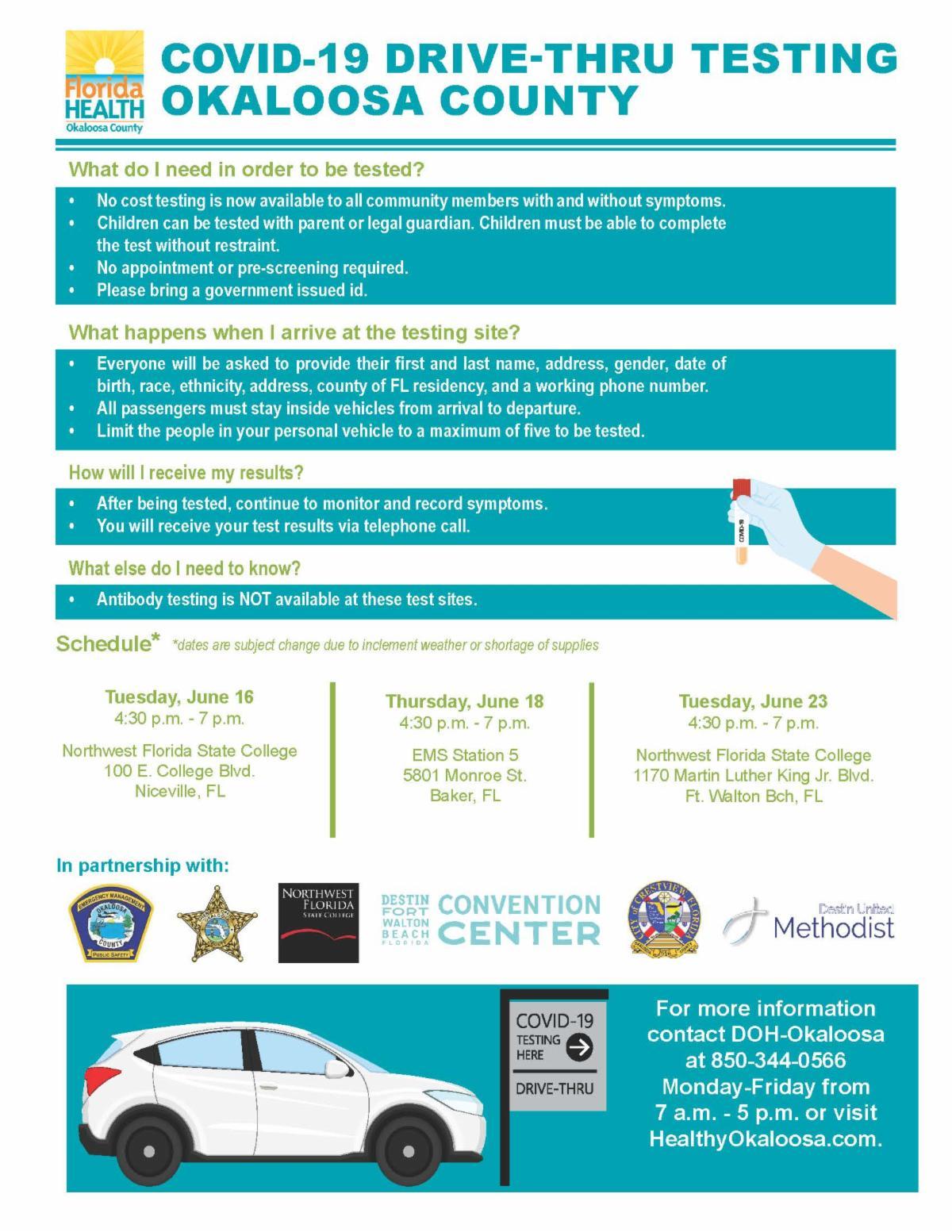 Okaloosa Drive-Thru COVID-19 Testing June 2020
