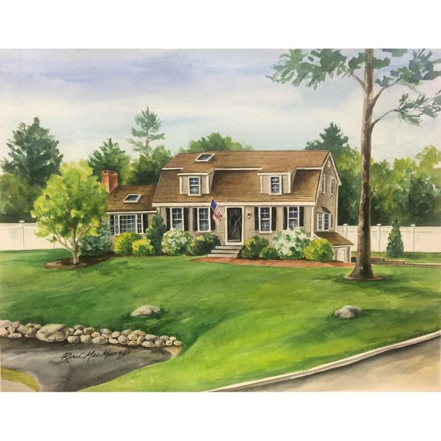 Just Finished! My Last custom order for the Holidays!! An original watercolor house portrait by Renee MacMurray, www.macmurraydesigns.com #reneemacmurray #watercolorart #macmurraydesigns #house #houseportraits #customart #watercolor #custompaintings