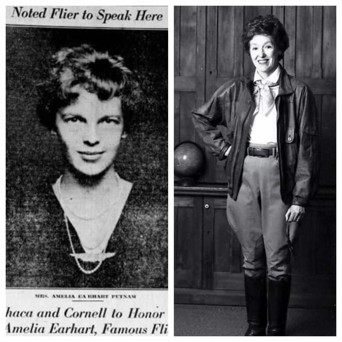 Photo of Amelia Earhart and photo of Eleanor Stearns as Amelia Earhart