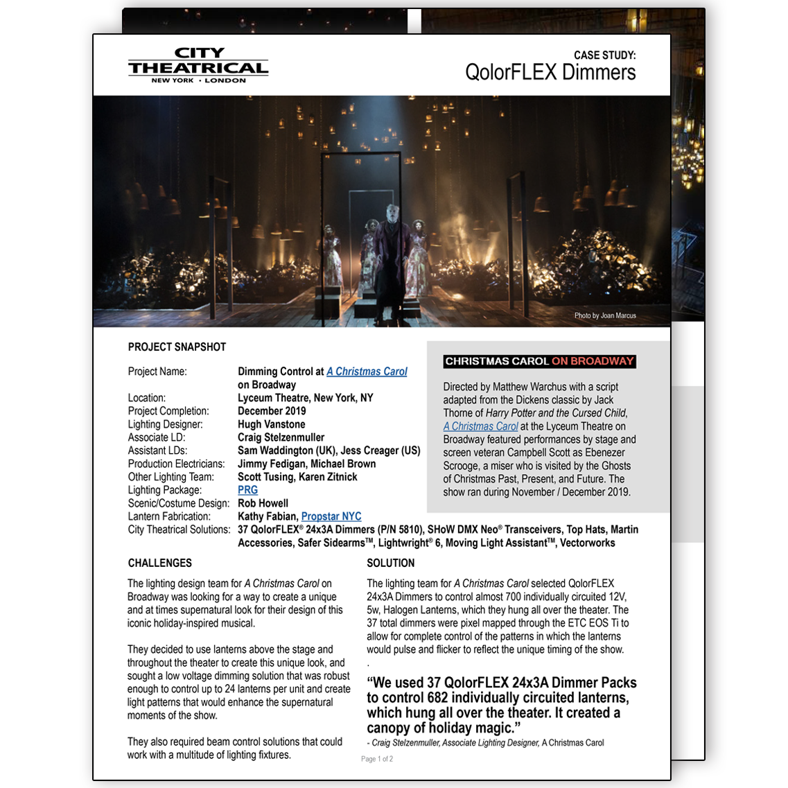QolorFLEX Dimmers at A Christmas Carol on Broadway