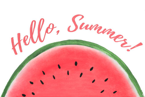 Hand painted watermelon slice with text Hello Summer_ isolated on white background.