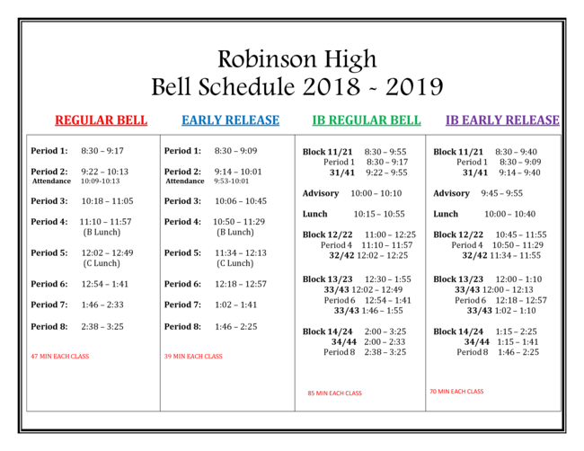 2018-19 Bell Schedules