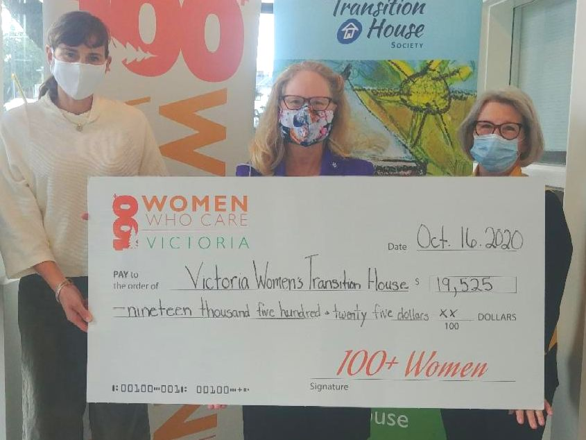 Marnie and Paulette from 100+ Women Who Care Victoria presenting the cheque donation to our Development Director last month.