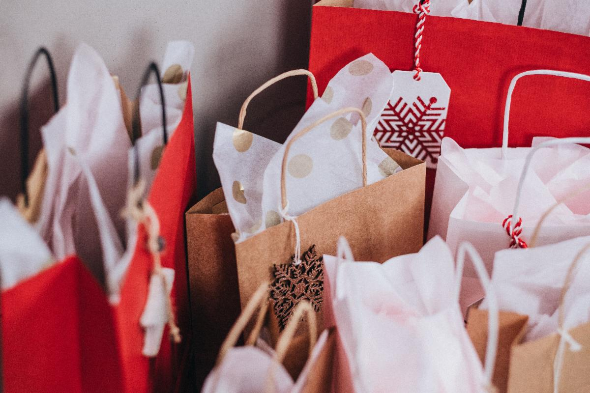Holiday gift bags.
