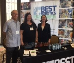 Photo of Jose Lopez, Tami Kirkland and BEST Director of Marketing and Communications, Deb Ellsworth manning the exhibit booth at GlobalMinded Conference in Denver.