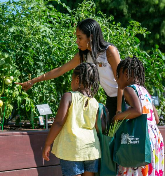 Woman shows two children a plant in the garden