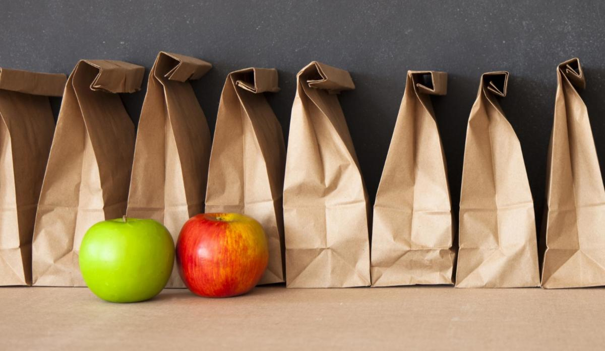Line of brown paper lunch bags with a red and green apple in front.