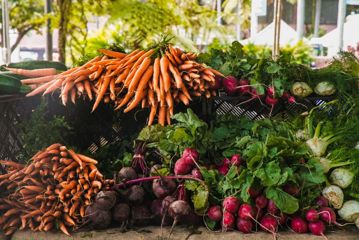 Fresh carrots, beets, kohlrabi, and other vegetables at a farmers market stand