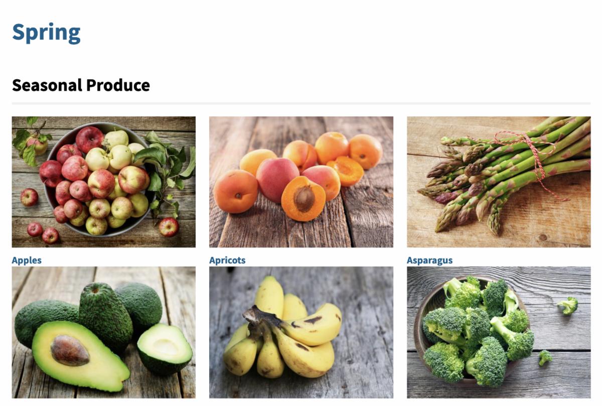 screenshot of USDA's spring seasonal produce guide
