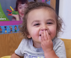 Baby eating finger foods