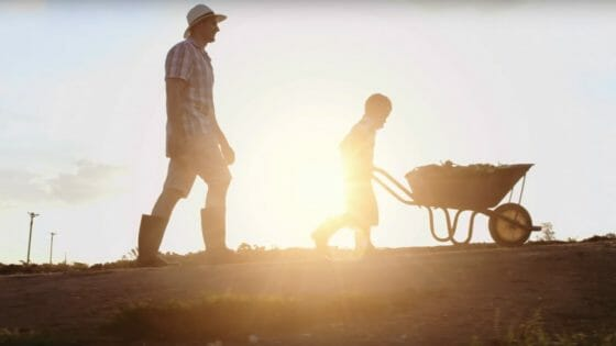 Adult man walks behind a boy who is pushing a wheelbarrow across a field