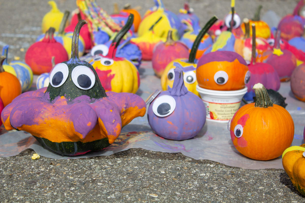Painted gourds dry outside at Edna Drinkwater Elementary on October 3.