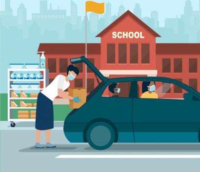 Drive up meal distribution illustration