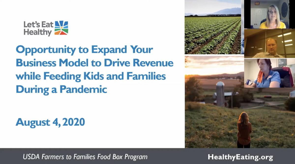 Screenshot of the webinar intro titled Opportunity to Expand Your Business Model to Drive Revenue while Feeding Kids and Families During a Pandemic.
