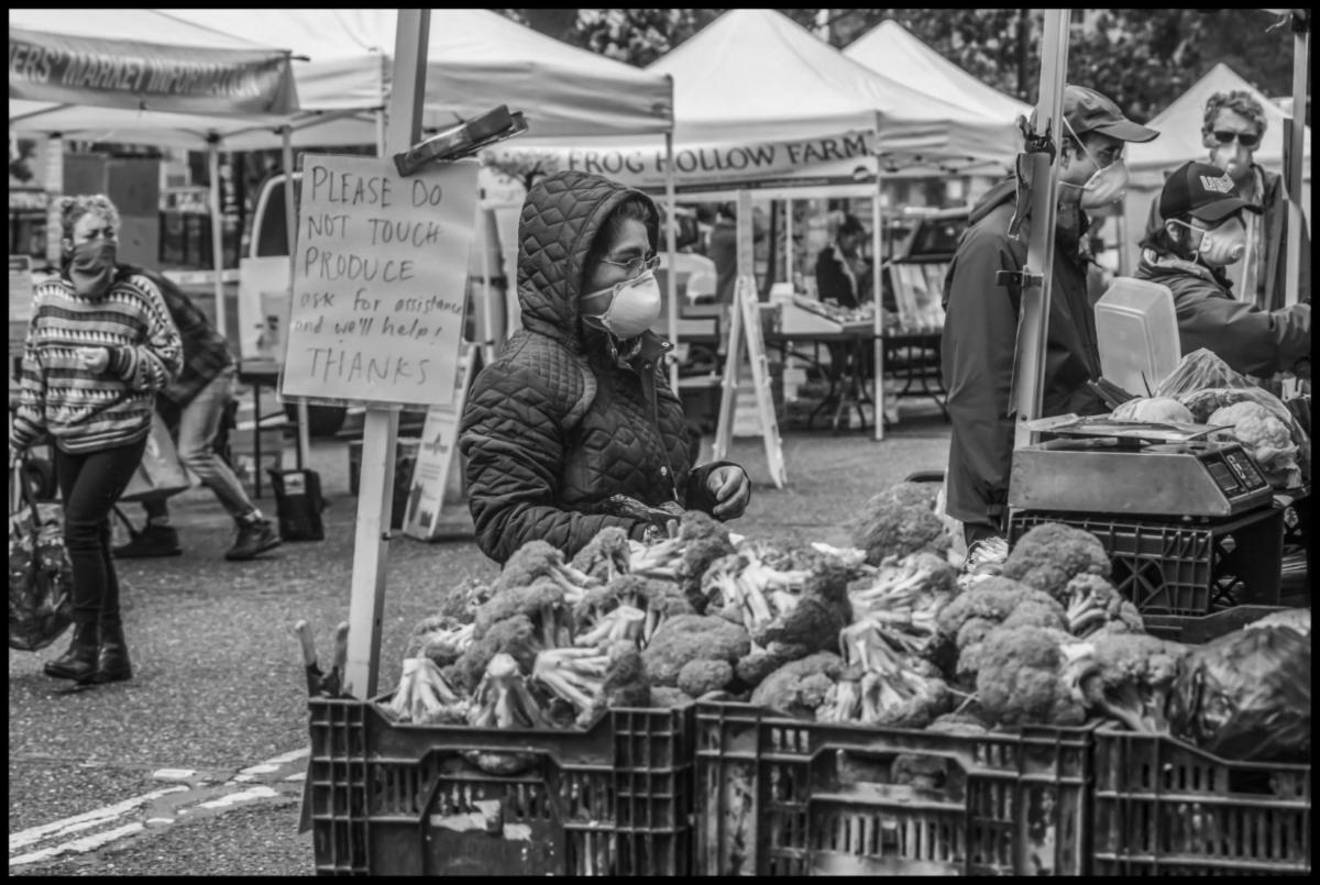 Farmers market in Berkeley, California. Photo courtesy of David Bacon.