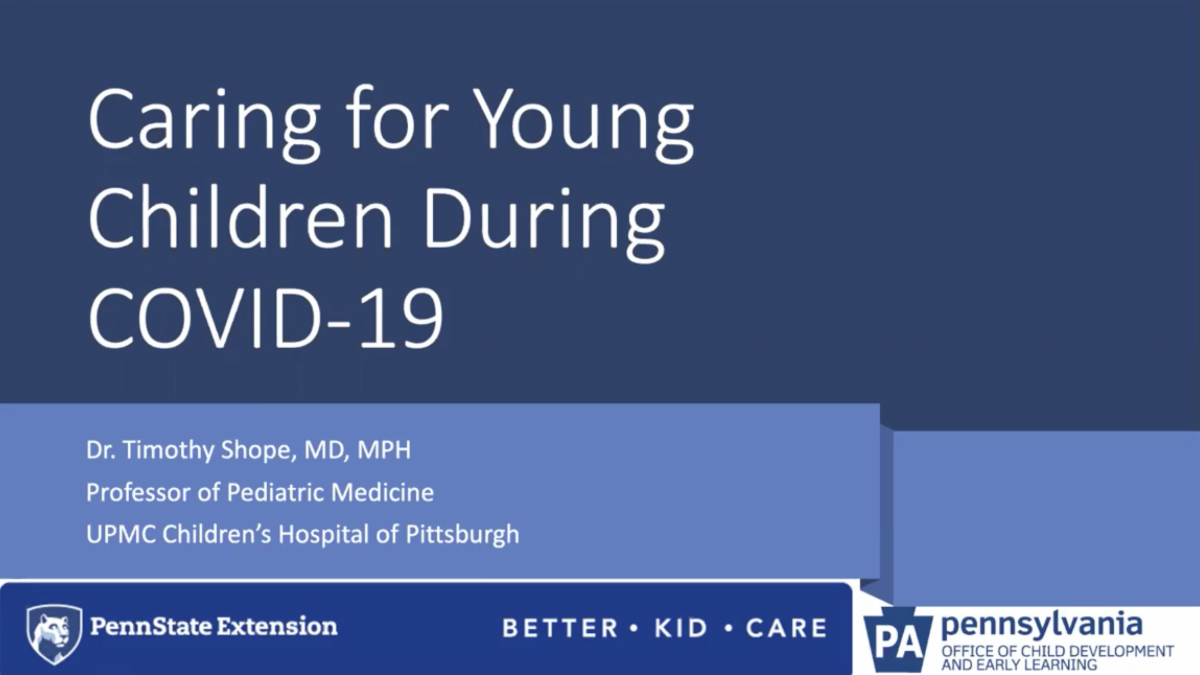 Slide from a webinar called Caring for Young Children During COVID-19