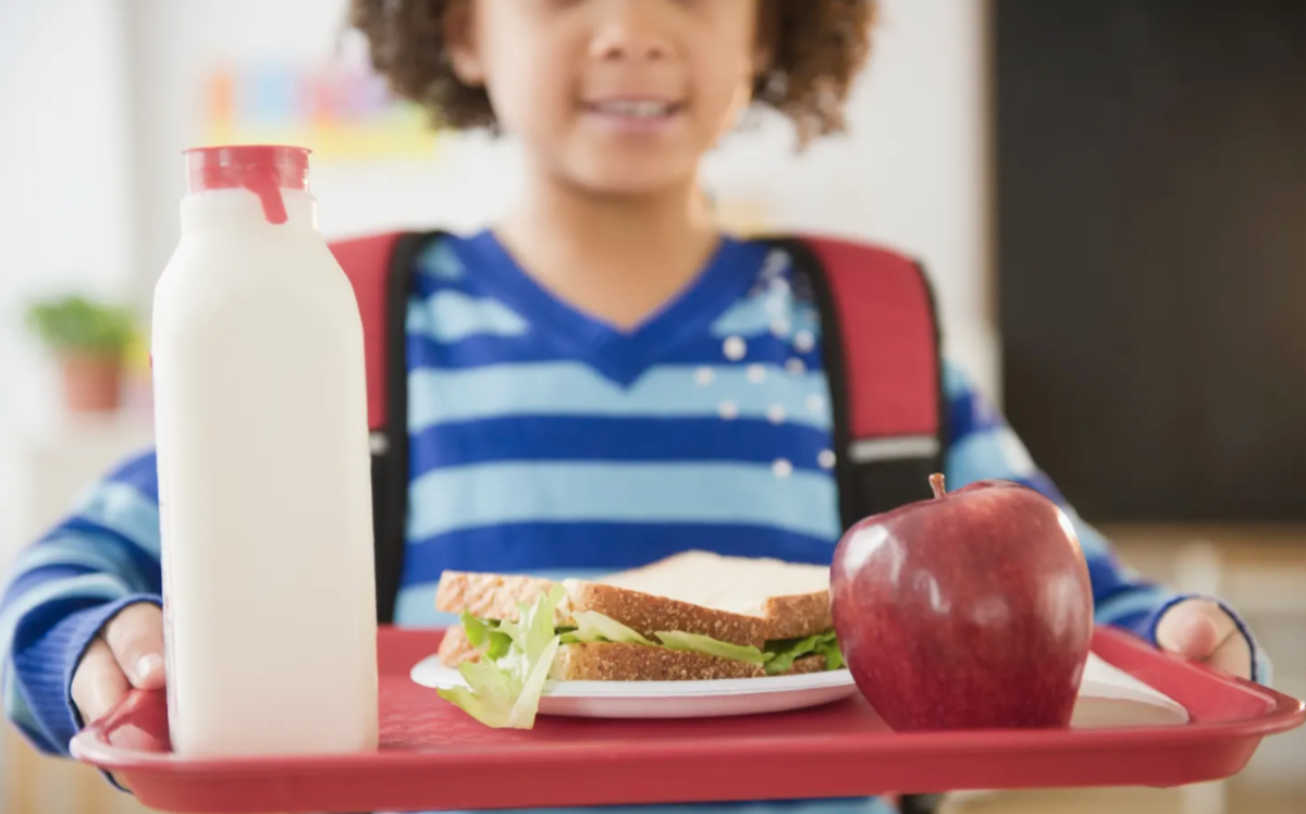 Student carries a lunch tray with milk and an apple and a sandwich in a school cafeteria. Photo by JGI Jamie Grill from Getty Images