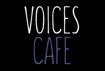 Voices Cafe logo black background w white and purple letters
