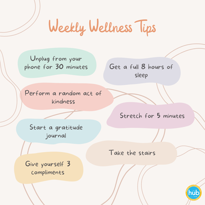 Weekly Wellness Tips Unplug from  your phone for 30 minutes Get a full 8 hours of sleep Perform a random act of kindness Stretch for 5 minutes Start a gratitude journal Take the stairs Give yourself 3 compliments