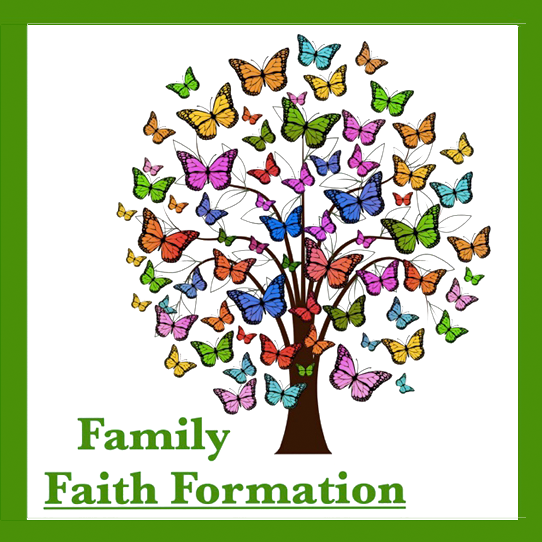 Family Faith Formation tree with multi-colored butterflies as the leaves