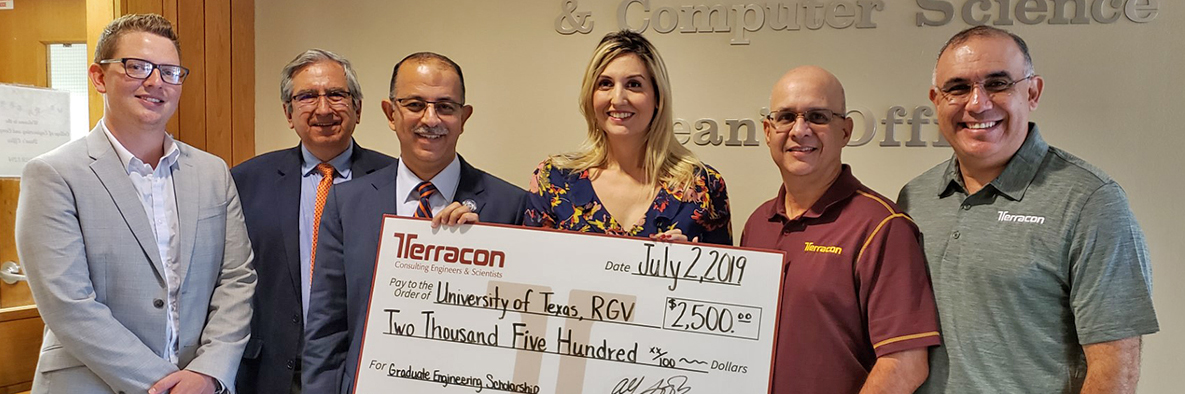 Terracon Foundation grant check received by University of Texas