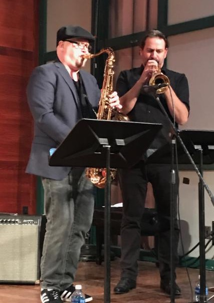 Ian Hendrickson-Smith on tenor and Marcus Parsley on trumpet playing with my Hunter students