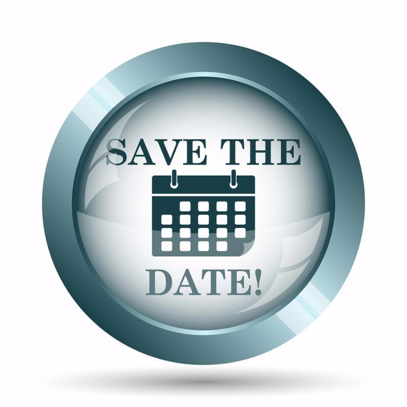 Save the date icon. Internet button on white background.
