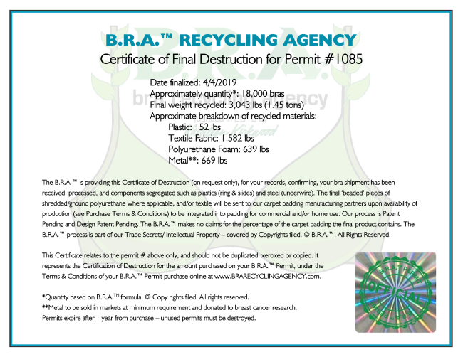 Bra Recycling Agency Certificate of Impact
