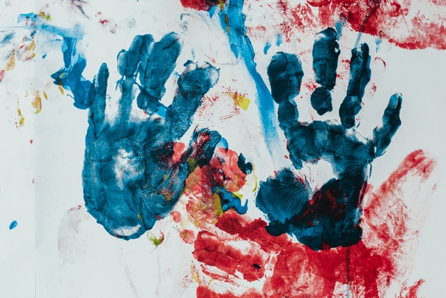 blue and red hand prints