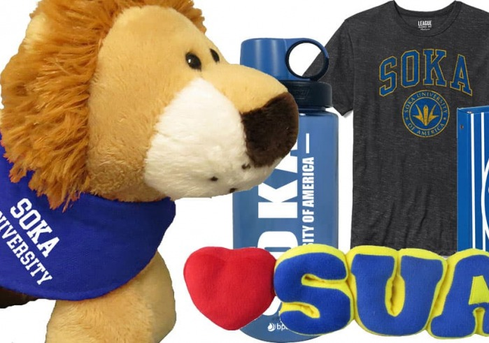 Variety of merchandise available at SUA bookstore ( stuffed lion. water bottle. t-shirt)