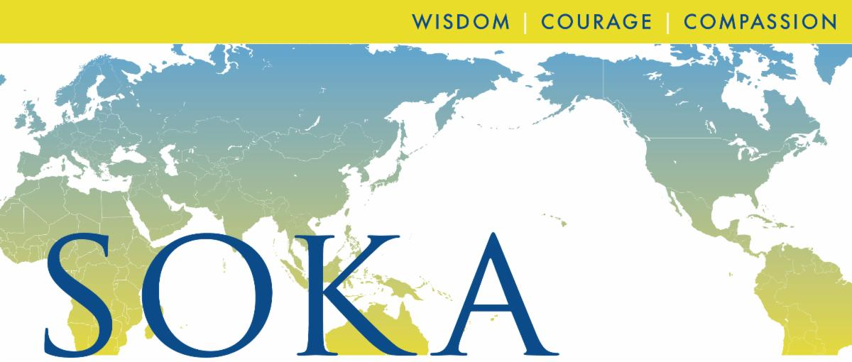 World map displaying Soka's values of wisdom courage and compassion