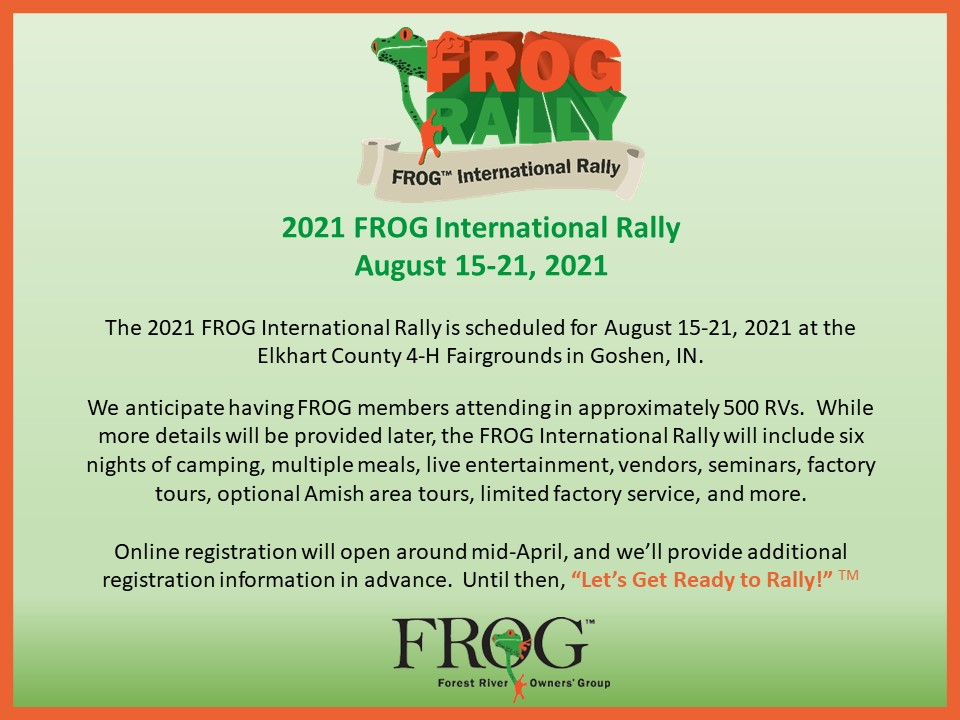 2021 FROG International Rally, August 15-21, 2021
