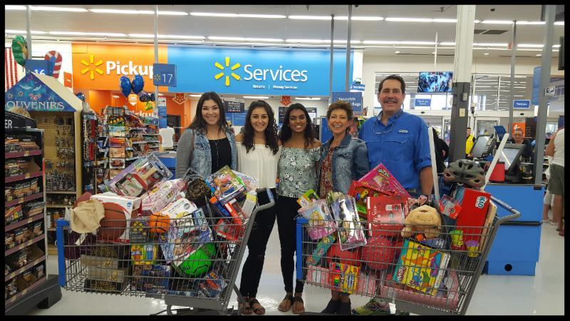 Chuck and family shopping for the firm's matching contribution