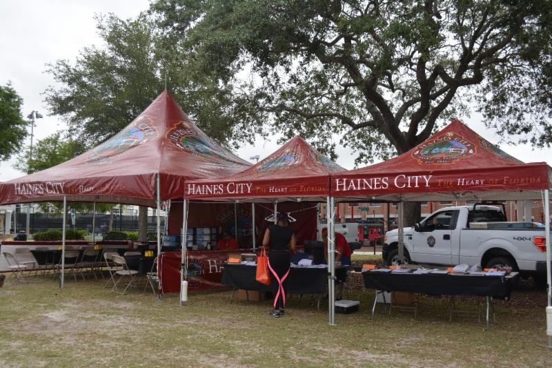 Picture of City of Haines City tents set up at 7-Rivers Festival