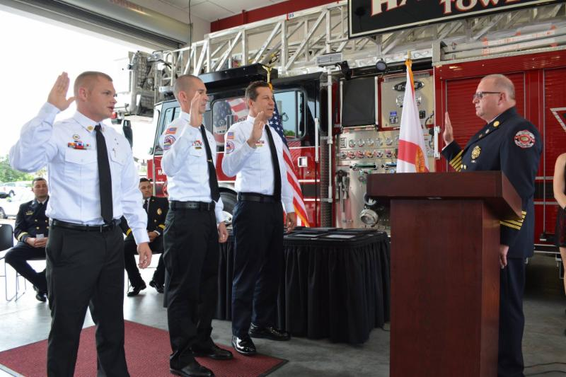 Photo of Fire Chief with 3 new Fire Lieutenants