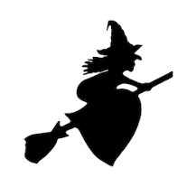 clip art of witch on broom