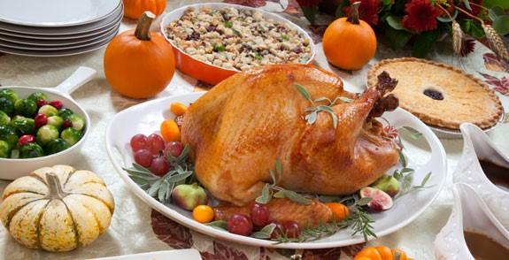 Clip art of Thanksgiving dinner food items