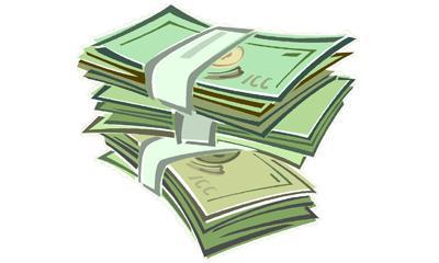 Clip art of stacks of money