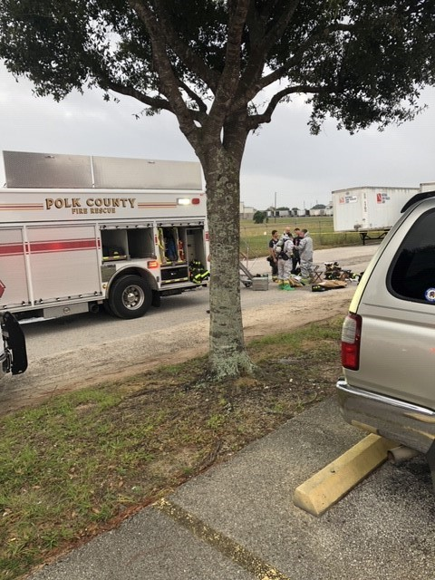 Photo of Polk County Rescue truck and staff